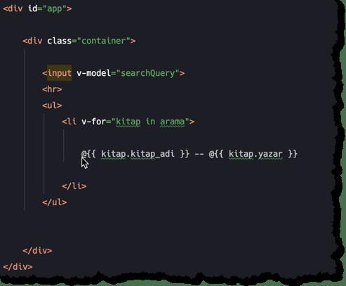 Computed Properties html kodları